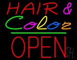 Hair and Color Block Open Green Line LED Neon Sign