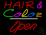 Hair and Color Open White Line LED Neon Sign