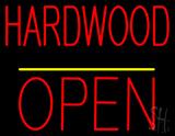 Hardwood Block Open Yellow Line LED Neon Sign