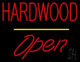 Hardwood Script1 Open Yellow Line LED Neon Sign