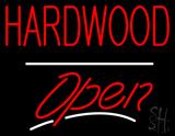 Hardwood Script2 Open White Line LED Neon Sign
