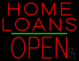 Home Loans Block Open Green Line LED Neon Sign