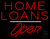 Home Loans Open White Line LED Neon Sign