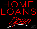 Home Loans Open Yellow Line LED Neon Sign