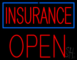 Red Insurance Blue Border Open Block LED Neon Sign