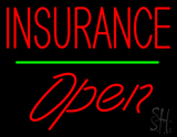 Red Insurance Open Green Line LED Neon Sign
