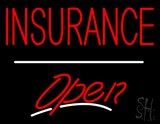 Insurance Open White Line LED Neon Sign
