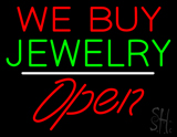 We Buy Jewelry Block Open White Line LED Neon Sign