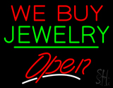 We Buy Jewelry Open Green Line LED Neon Sign