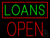 Green Loans Red Border Block Open LED Neon Sign