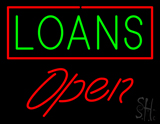 Green Loans Red Border Open LED Neon Sign