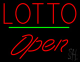 Red Lotto Green Line Open LED Neon Sign