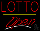 Red Lotto Yellow Line Open LED Neon Sign