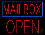 Mailbox Blue Border Open Block LED Neon Sign
