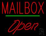 Mailbox Open Green Line Neon Sign
