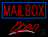 Red Mailbox Blue Border Open Neon Sign