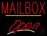 Red Mailbox Open Yellow Line Neon Sign