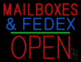 Mail Boxes and FedEx Open Block Green Line LED Neon Sign