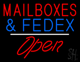 Mail Boxes and FedEx Open White Line LED Neon Sign