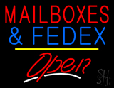 Mail Boxes and FedEx Open Yellow Line LED Neon Sign