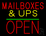 Mail Boxes & UPS Open Block Green Line LED Neon Sign