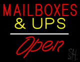 Mail Boxes and UPS Open White Line LED Neon Sign