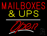 Mail Boxes and UPS Block Open White Line LED Neon Sign