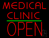 Medical Clinic Block Open Green Line LED Neon Sign