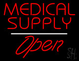Medical Supply Open White Line LED Neon Sign