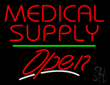 Medical Supply Open Green Line LED Neon Sign