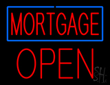 Red Mortgage Blue Border Block Open LED Neon Sign