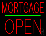 Red Mortgage Block Open Green Line LED Neon Sign