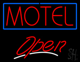 Motel with Blue Border Open LED Neon Sign