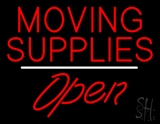 Moving Supplies Open White Line LED Neon Sign