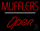 Mufflers Open White Line LED Neon Sign