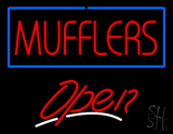Mufflers Blue Border Open LED Neon Sign