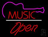 Music Logo Open White Line LED Neon Sign