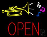 Trumpet Logo Open Block LED Neon Sign