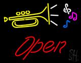 Trumpet Logo Open LED Neon Sign