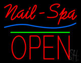 Nails-Spa Block Open Green Line LED Neon Sign