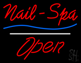 Red Nails-Spa Open White Line LED Neon Sign