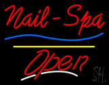 Red Nails-Spa Open Yellow Line LED Neon Sign