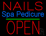 Nails Spa Pedicure Block Open Green Line LED Neon Sign