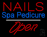 Nails Spa Pedicure Open White Line LED Neon Sign