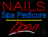 Red Nails Spa Pedicure Open Yellow Line LED Neon Sign