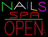 Multi Colored Nails Spa Block Open Green Line LED Neon Sign