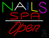 Multi Colored Nails Spa Open White Line LED Neon Sign