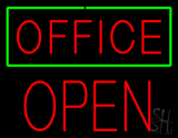 Red Office Green Border Block Open LED Neon Sign