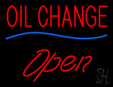 Oil Change Open Blue Line LED Neon Sign