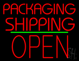 Packaging Shipping Open Block Green Line LED Neon Sign